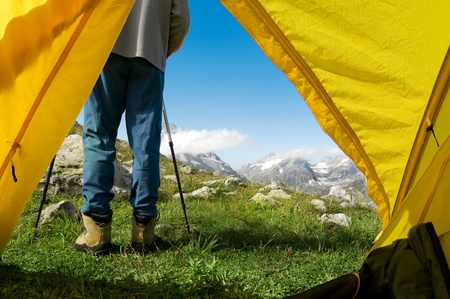 man hiking in a mountain Stock Photo - 13053708