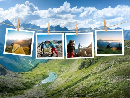 acampar: Pareja de senderismo en la montaña