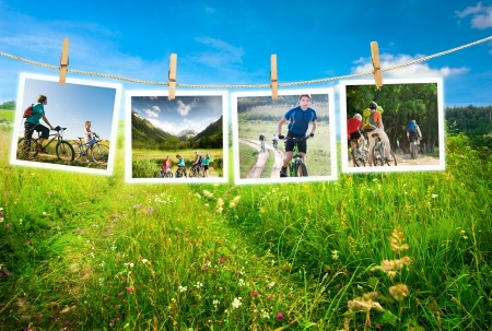 Human cycling outdoors collage photo