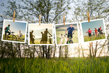 cycling outdoors collage photo