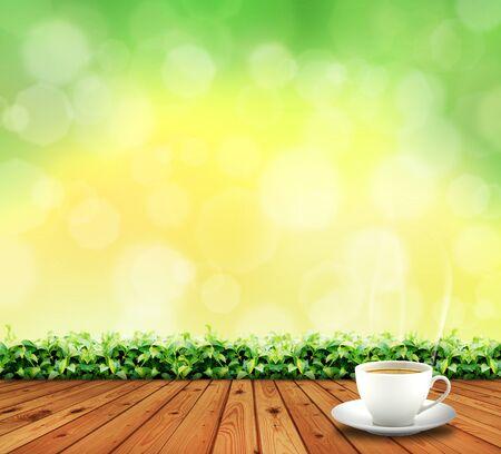 tazza di te: pavimento in legno e tazza di tè Archivio Fotografico