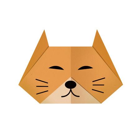 Origami paper a cat (face)