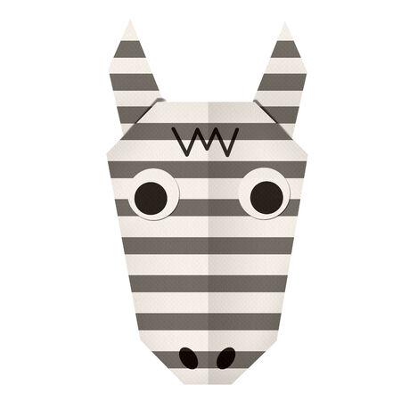 zebra face: Origami paper a zebra (face) Stock Photo