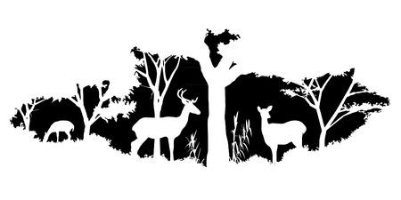 deer silhouette: animal of wildlife (deer)
