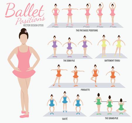 donna che balla: Posizioni balletto azione ragazza cartone animato