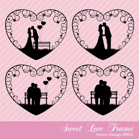 keywords adult: sweet love in heart frame Illustration