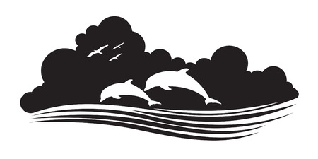 animal of wildlife (dolphins) Vector