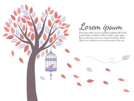 wallpaper tree is leaf fall and bird cage Vector