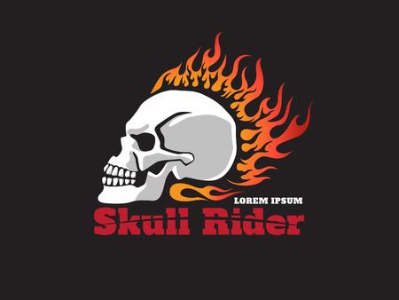 motorbike rider: skull fire  rider logo Illustration