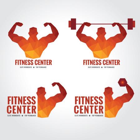 フィットネス センターのロゴ (男性は筋肉の強さと重量を持ち上げる)