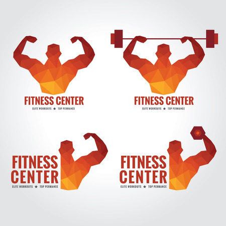 fitness: Gimnasio logotipo (hombres es la fuerza muscular y el levantamiento de pesas) Vectores