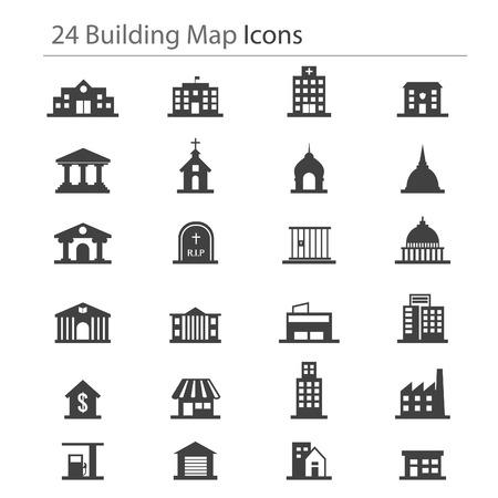 24 budynek ikona mapy Ilustracje wektorowe