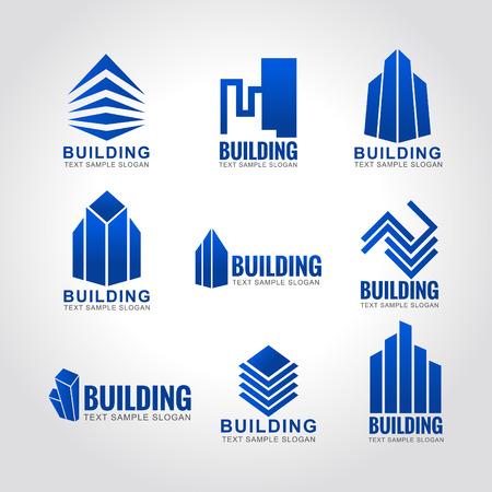 logotipo de construccion: 9 tono edificio cielo azul logo