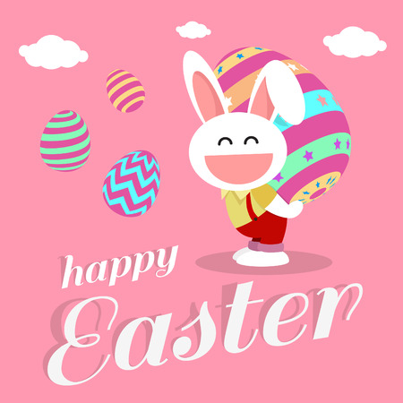 full day: happy easter day card design pink color is white rabbit hold egg full color on back body Illustration