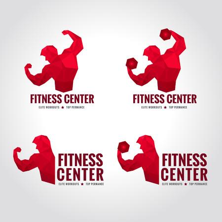 フィットネス センター ロゴ低ポリ男性を示す大きい強さと筋肉赤いトーン