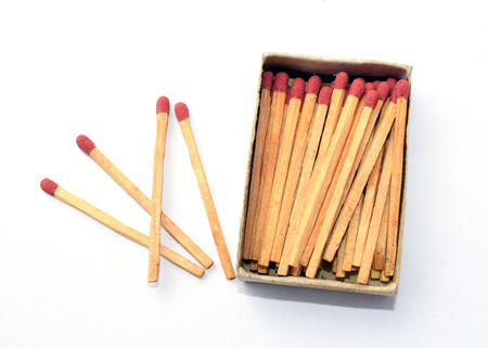 matchbox: The box of matches and the other 4 matches outside the box Stock Photo