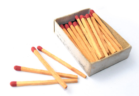 box of matches: The box of matches and the other 4 matches outside the box Stock Photo