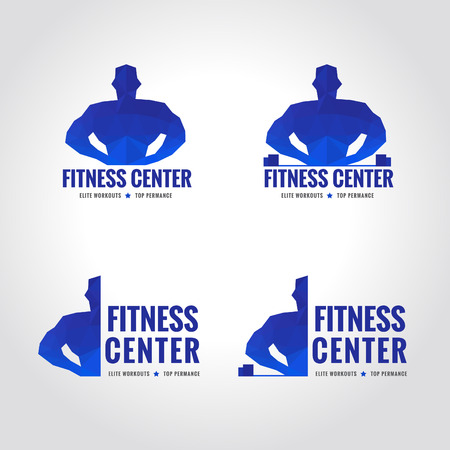 fitness center: fitness center sport blue tone symbol low poly of Muscular men lifting weights
