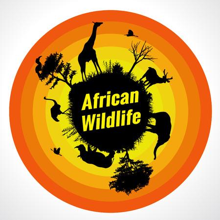 wildlife: african wildlife (6 animal is Giraffe, deer, elephant, rhino, ostriche and birds)
