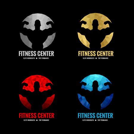 man lifting weights: Fitness center logo low poly  4 color is silver gold red and blue (Vocal muscle men)