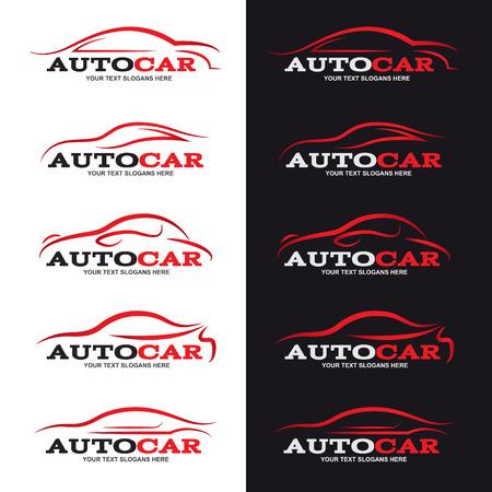 silhouette voiture: logo rouge de ligne de la voiture est de 5 le style en arrière-plan noir et blanc