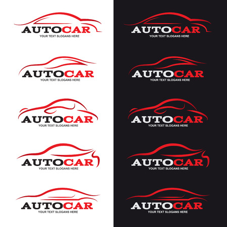 automotive repair: red car line logo is 5 style in black and white background