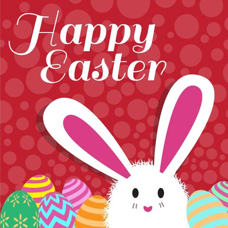 happy easter card is rabbit egg and red dot background