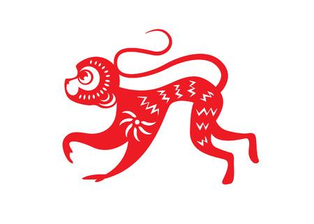 flores chinas: Papel rojo cortado un mono del zodiaco s�mbolos