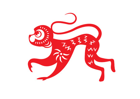 chinese zodiac: Red paper cut a monkey zodiac symbols