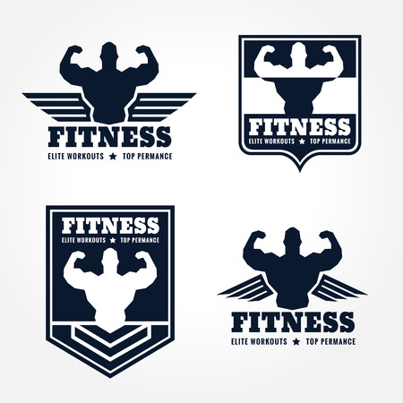 fitness center: fitness logo emblems in retro style graphic design (wings and muscle blue-black tone)