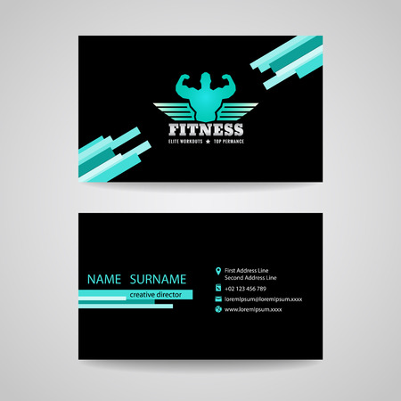 business fitness gym card  (wings and muscle blue mint -black tone) Vector