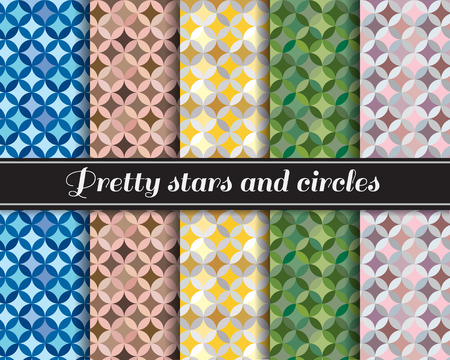 brown skin: Pretty stars and circles pattern 5 style is blue,brown skin,yellow,Army Green and pink-gray Illustration