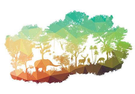 코끼리, 원숭이, deers에, 토끼, 조류를 포함하여 야생 동물의 동물