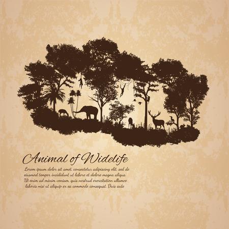animal of wildlife Including elephant, monkeys, deers, rabbits, birds (old vintage style) Vector