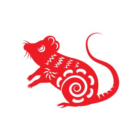 Red paper cut a rat zodiac symbols