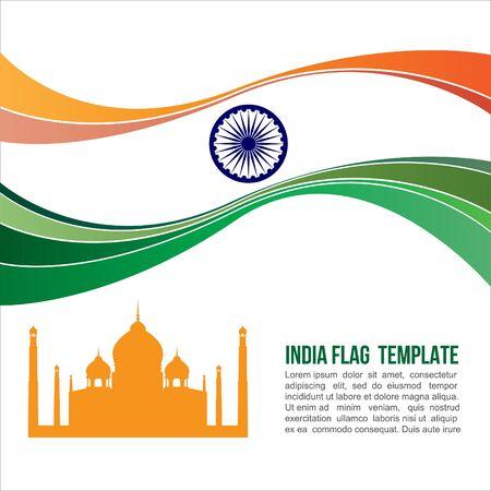 india flag wave and Taj Mahal symbols Vector