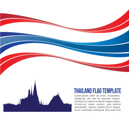 wat arun: Thai flag wave and wat-pha-keaw Temple