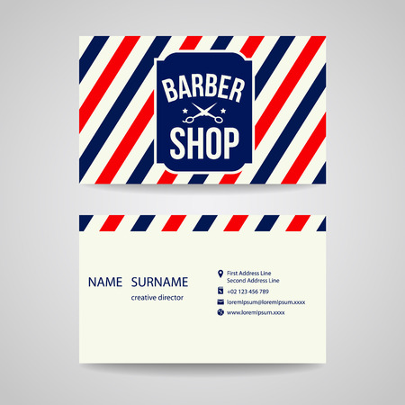 barber pole: business card Template design for barber shop