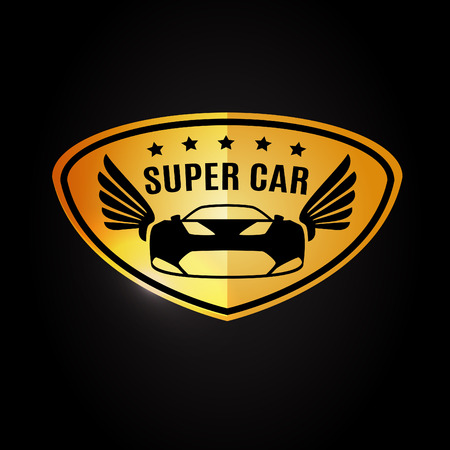 expensive car: Sports car Vehicle Silhouette and wings logo vector design