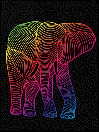 fine lines: Abstract vector art spectrums lined design elephant