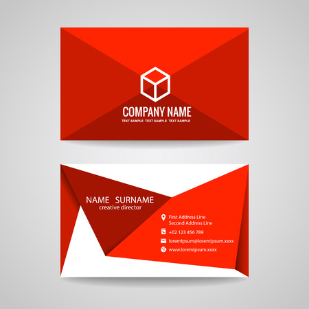 Business card vector graphic design  red triangle fold and box Illustration