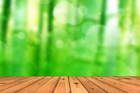 Wood floor and abstract green tree background bokeh photo