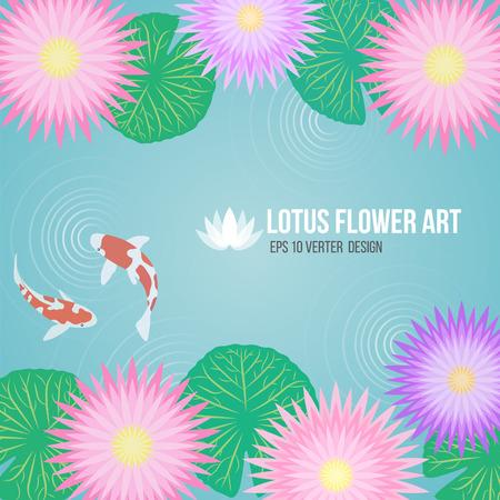 koi fish art: pink purple lotus flowers and carp fish in basin water background