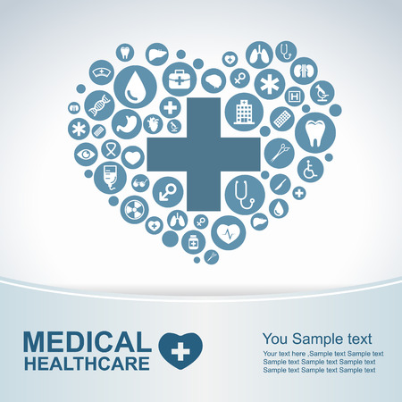 become: Medical Health care background  circle icons to become heart