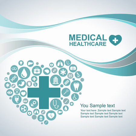 Medical Health care background  circle icons to become heart and wave line Vectores
