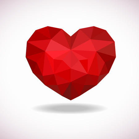 crystal heart: red crystal heart low poly vector art design