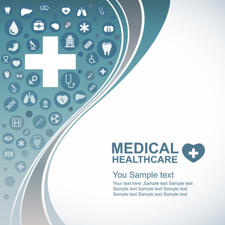 blue network: Medical Health care background  circle icons to become heart and wave line Illustration