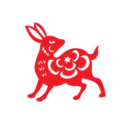 ester: Red paper cut a rabbit zodiac symbols