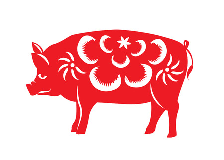 chinese astrology: Red paper cut a pig zodiac symbols Illustration