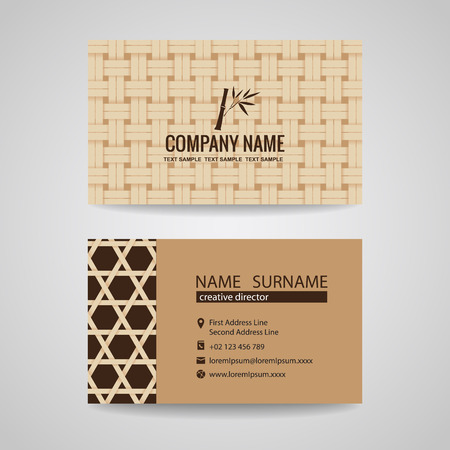 wooden vector mesh: business card brown bamboo weave sheets texture background Illustration